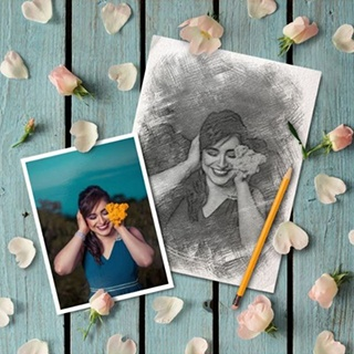 Flat Lay Sketch and Petals