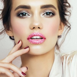 Pink Glittery Lips